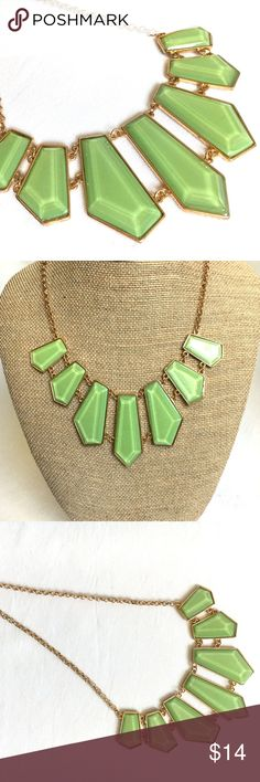 3/$30! Crystal Shaped Green Statement Necklace **3/$30 DEAL! Bundle ANY 3 jewelry items in my boutique, and I will make you an offer of $30! Bundle more for an even greater discount!**     New with Tags Statement Necklace!   - Colors: light green; gold tones   - Adjustable length necklace     Item # - POSH125 Tamina by Stella Jewelry Necklaces