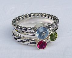 Birthstone Stacking Rings Set of 3 / Stackable by GizmosTreasures, $119.00