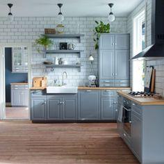 8 Best Inspiration For Grey Kitchen Design Ideas Ikea Bodbyn Kitchen, Grey Kitchen Cabinets, Upper Cabinets, Kitchen Walls, Blue Cabinets, Cupboards, New Kitchen, Kitchen Interior, Kitchen Decor