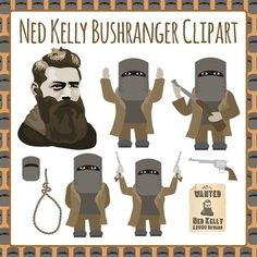 $1 Bushranger Ned Kelly - 10 pieces of Ned Kelly clip art for your worksheets or educational resources. All images are high resolution so you can have large versions of them and they'll still be clean and beautiful.Images are in PNG format with a transparent background (there aren't white areas around the edge) so they can be dropped into your documents easily, and layered with text or other images.