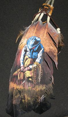 country western painted feathers, cowboys hand painted feathers by mariam Feather Painting, Feather Art, Painting On Wood, Parrot Feather, Painted Feathers, Bird Feathers, Paper Feathers, Western Art, Western Cowboy