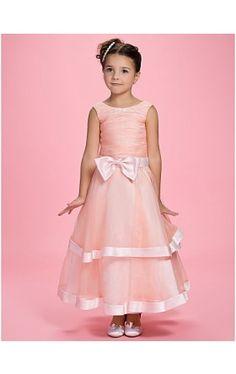 A-line Jewel Ankle-length Organza Over Satin Flower Girl Dress