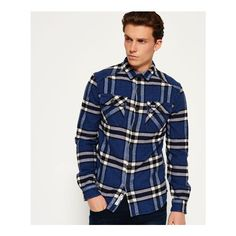 Superdry Milled Flannel Shirt ($55) ❤ liked on Polyvore featuring men's fashion, men's clothing, men's shirts, men's casual shirts, blue, mens plaid shirts, mens quilted flannel shirt, mens tartan shirt, mens blue flannel shirt and mens long sleeve shirts