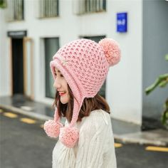 19c814c7af2 Hengzheapparel Women Decoration Cashmere Pompon Knitted Hat Casual  All-match Sweet Top Ball Cap Girl