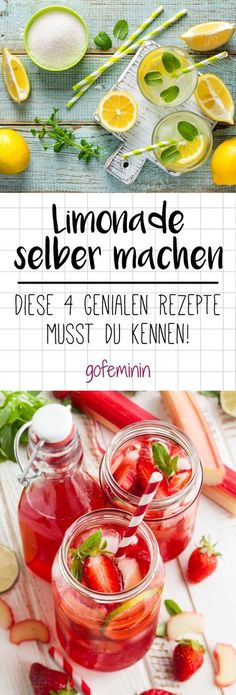 "Limonade selber machen: 4 Trend-Rezepte mit Zitrone, Erdbeer oder Ingwer - 4 genial leckere Limonaden-Rezepte "" 4 genial leckere Limonaden-Rezepte The Effective Pictures We - Healthy Eating Tips, Healthy Drinks, Healthy Recipes, Homemade Lemonade Recipes, Lemon Recipes, Shrimp Recipes, Smoothie Drinks, Smoothie Bowl, Smoothie Mixer"