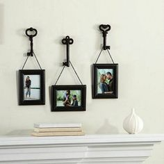 This Set Of Frames Features A Weathered Frame Hanging From An Antique Skeleton Key By Black Metal Chain Includes Three That Each Come