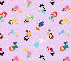 Princess on Purple fabric by jac2006 on Spoonflower - custom fabric