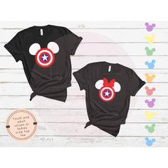 Captain America Mickey or Minnie • Disney Inspired Marvel Theme Soft Cotton Tee - Ladies Crop 2XL / Mickey - Glitter Print