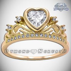 Sailor Moon Inspired Crown Russian Ice Diamond Yellow Gold Sterling... ($100) ❤ liked on Polyvore featuring jewelry, rings, white ring, crown ring, gold crown, gold diamond rings and sterling silver crown ring