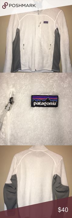 Patagonia Jacket Size Large white Patagonia Jacket in near perfect conditions :) Barely worn. 3 zipper pockets. I️'m only selling because I need the money and I️ typically prefer pullovers! Patagonia Jackets & Coats