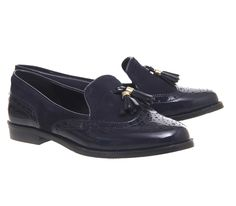 Dam Office Ringo Tassel Brogue Loafers Svart Vit Leather
