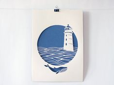 Lighthouse, handmade papercut poster, beige, navy blue, paper A4