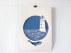 Lighthouse, handmade papercut poster, beige, navy blue, paper A4