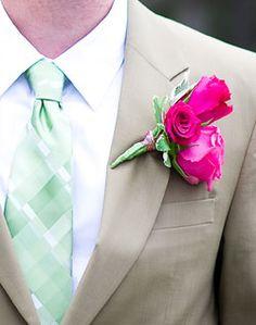 Fuchsia / Hot Pink Wedding. Groom's wedding hot pink / fuschia bouttenier with light green