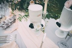 White Cakes with Blackberries - Blush and Grey Wedding Table Styling