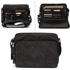7083e4847f0e Brand Men Canvas Messenger Bag with Multi Pockets - Black - CG121QP6CGZ