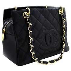 Chanel Structured Shoulder Bag - Caviar Chain Shoulder Shopping Tote Bag Quilted Leather Leather Source by designer Hobo Handbags, Chanel Handbags, Purses And Handbags, Hobo Purses, Cheap Handbags, Fashion Handbags, Logo Chanel, Chanel Tote, White Chanel Bag