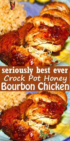 Crock Pot Honey Bourbon Chicken Crock Pot Honey Bourbon Chicken #CrockPot #Honey #Bourbon #Chicken<br> Keto Crockpot Recipes, Crockpot Dishes, Slow Cooker Recipes, Healthy Dinner Recipes, Cooking Recipes, Teriyaki Chicken, 21 Day Fix, Casserole Recipes, Soup Recipes