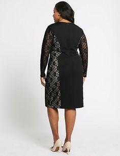 CURVE Lace Long Sleeve Bodycon Midi Dress