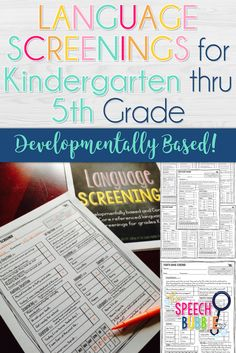 These DEVELOPMENTALLY BASED language screenings allow you to get a quick by through snapshot of your students language skills bases on their age, NOT Common Core standards.