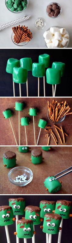 Give your Halloween treat table a spooky touch with these Halloween Frankenstein Marshmallow Pops made with green candy melts, pretzel sticks, and googly sprinkle eyes. Kids and adults alike will delight in this frighteningly cute Halloween dessert idea!