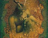 Beltane Reunion - Pagan God and Goddess Art 5x7 Card
