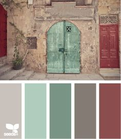 Street Tones: Gray, Seaglass Green, Faded Turquoise, Dark Grey, Rusty Red - http://interiors-designed.com