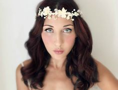 Wedding Flower Crown, Crystals and Pearls, Bridal Tiara,  Hair Flower Soft White Bridal Tiara - ISLA via Etsy
