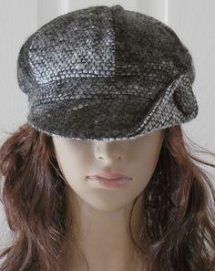 Trendy Turned Up Button Brim Black Gray Tweed Ladies Newsboy Hat Cabbie Cap  #Unbranded #NewsboyCabbie