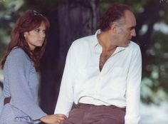 MICHEL PICCOLI LEA MASSARI  LA FEMME EN BLEU 1973 PHOTO ANCIENNE GRAND FORMAT 3
