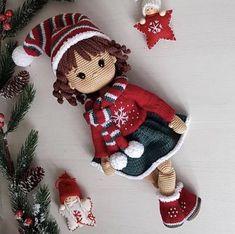 Yarn Dolls, Knitted Dolls, Fabric Dolls, Crochet Dolls, Diy Crochet Toys, Crochet Projects, Doll Patterns, Crochet Patterns, Rag Doll Tutorial