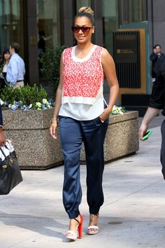 LA LA ANTHONY out and about on the streets of NYC in these sexy two toned open toed high heels. I would substitute her heels for Miss #GIOVANA from #JUSTFAB. Giovana will definitely keep this outfit going with the either the orange multi color or the blue multicolor. You can't go wrong with either one #justfabonline