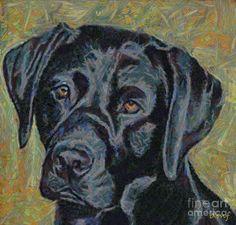 black lab artwork | Black Labrador Painting - Black Labrador Fine Art Print