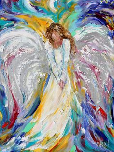 Angel Print, angel art, made from image of past oil painting, by Karen Tarlton - Guardian Angel of Love print Fine Art Print made from image of oil painting by Karen Art Original, Original Paintings, Angel Paintings, Oil Paintings, Angel Artwork, Figure Drawing, Painting & Drawing, Art Sur Toile, Modern Impressionism
