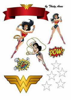 Mulher Maravilha Wonder Woman Birthday, Wonder Woman Party, Superhero Birthday Party, Bottle Cap Images, Baby Party, Scrapbook Albums, Kids Cards, Happy Planner, Party Printables