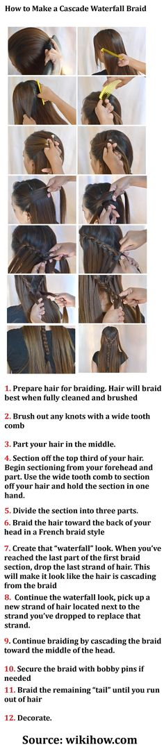 How to Make a Cascade Waterfall Braid. Learning how to do the waterfall braid. Want to do this sometime. Too bad I'll never be able to do it to my own hair!