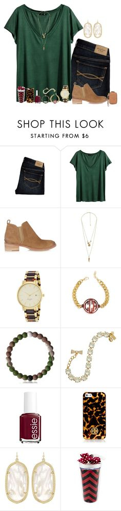"""Tortoise, Maroon and Fall"" by remiii13 ❤ liked on Polyvore featuring Abercrombie & Fitch, H&M, Tory Burch, Charlotte Russe, Kate Spade, BaubleBar, Essie, Kendra Scott and Gameday Boots"