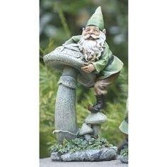 Irish Gnome Climbing a Mushroom - Decorating a Garden for St. Patrick's Day