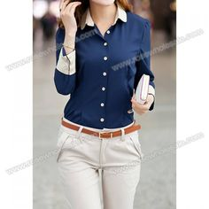 Wholesale Single-breasted Stitching Cuffs Cotton Color Matching Formal Blouse For Women(With Random Bow-tie) (BLUE,M), Blouses - Rosewholesale.com
