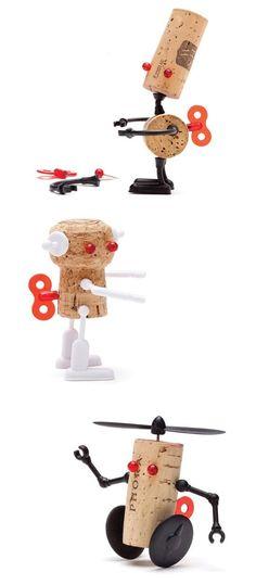 Cork robots kit by Reddish Studio.   Gloucestershire Resource Centre http://www.grcltd.org/scrapstore/ #toysforkids
