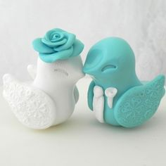 Love Bird Wedding Cake Topper Tiffany Blue and White by LavaGifts, $62.00