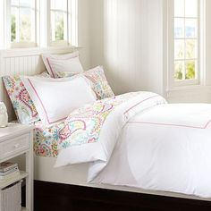 Swirly Paisley Sheet Set in Fuchsia and Aqua is where this board begins. These new sheets are on their way. Pottery Barn Teen, $59