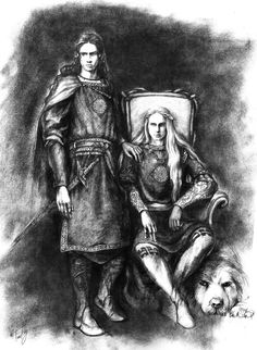 Celegorm (sitting) and Curufin in Nargothrond.  Artist: Tuuliky. Sons of Feanor