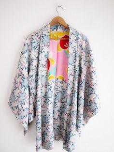 Funky Haori Jacket - eco-friendly, gift, pastel colors Haori, vintage Kimono Jacket, Japanese Kimono jacket, Cosplay, Gift for girlfriend