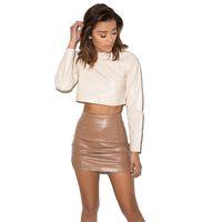 'Undercover' Brown Vegan Leather Mini Skirt