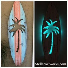Use Pallet Wood Projects to Create Unique Home Decor Items – Hobby Is My Life Arte Pallet, Pallet Wall Art, Wood Wall Art, Surfboard Decor, Surf Decor, Diy Pallet Projects, Woodworking Projects, Pallet Ideas, Pallet Furniture