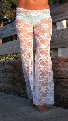sexy white stretch lace boho beach resort festival burning man gypsy hippie bell bottom pants with shorts liner (optional). Theses babies would only be good for the beach!!!!!!!