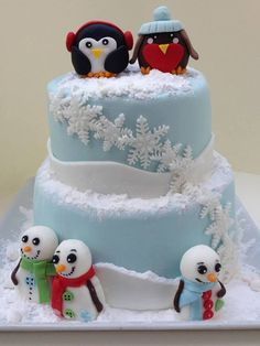 Winter Themed Cake With Fondant Figures Inspired By Royal Bakery And Sugar High Inc on Cake Central