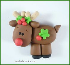 Polymer Clay Reindeer Bead or Bow Center by michellesclaybeads