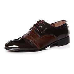 Blivener Men's Pointed Toe Pleather Dress Shoes Casual Ox... amazon.com Pu Leather, Patent Leather, Men's Shoes, Dress Shoes, Tuxedo Dress, Mens Suits, Casual Shoes, Oxford Shoes, Lace Up